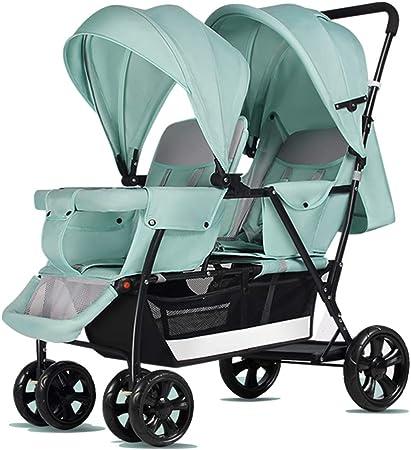Opinión sobre baby stroller Cochecito de bebé Doble, Puede Sentarse en el Cochecito Doble reclinable, Todo el Coche es extraíble y Lavable, Rueda Delantera con Amortiguador Universal, Plegado rápido, 0-7 años