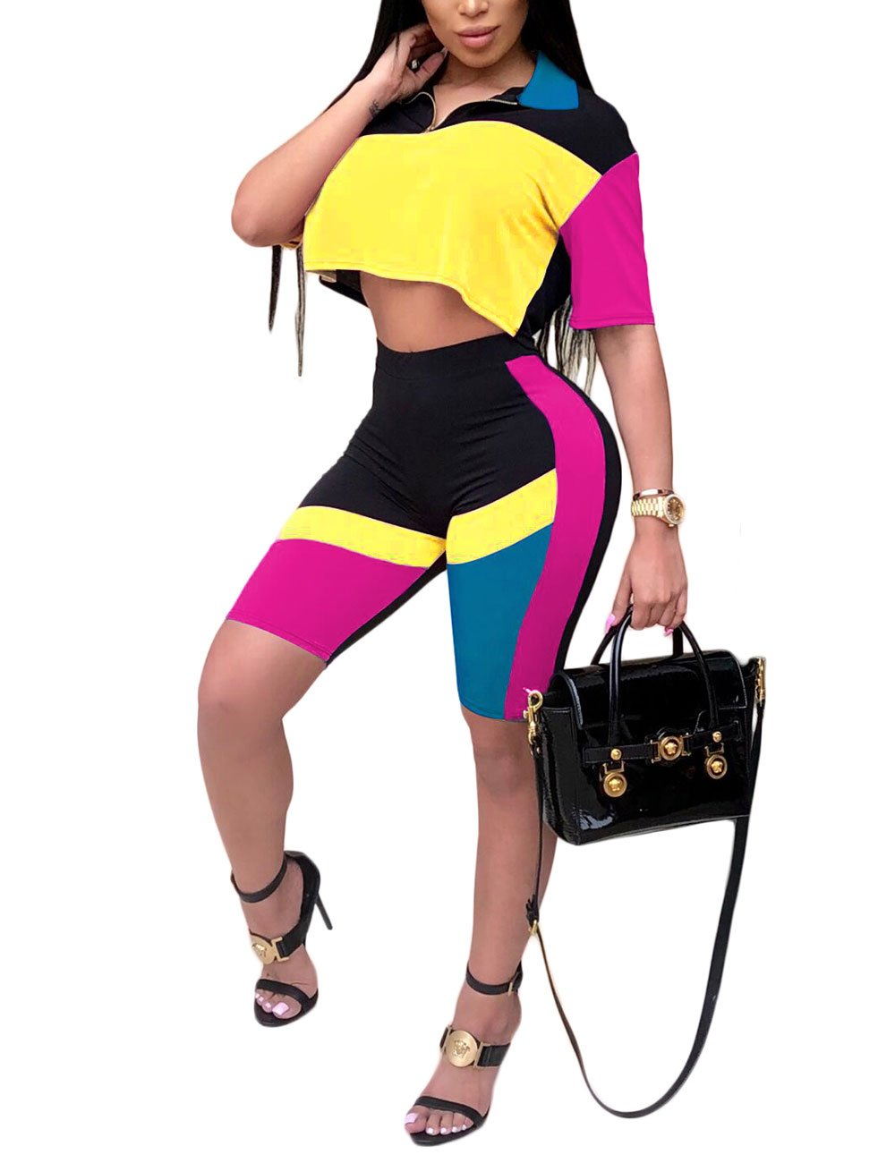 Women Sport Casual 2 Piece Set Color Block Crop Top and Bodycon Shorts Tracksuit Yellow 1X