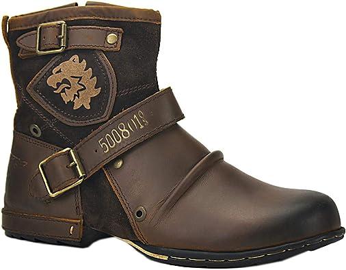 OSSTONE Botas para Moto Botines Hombre de Invierno Piel Zapatos ...