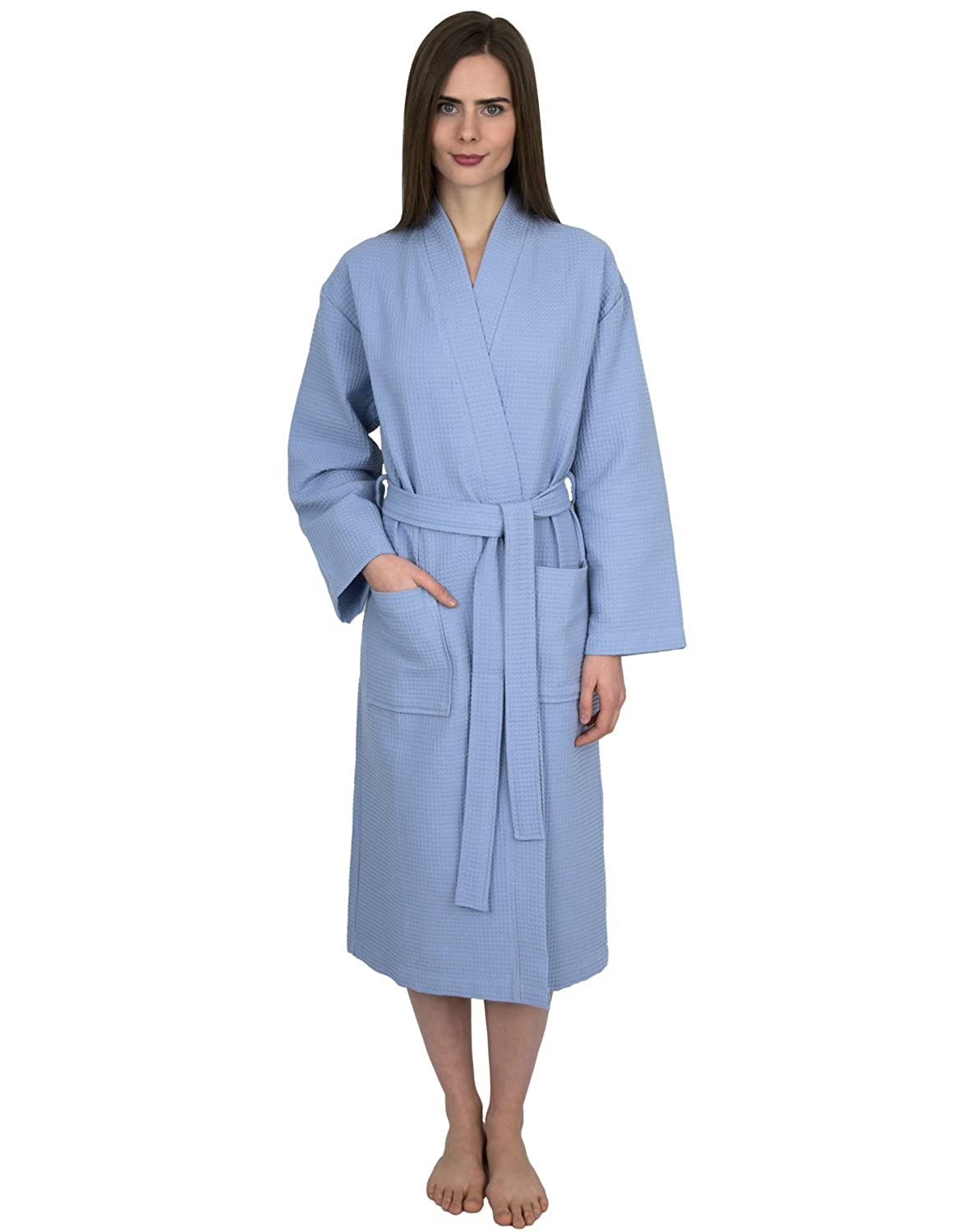 Cashmere bluee TowelSelections Waffle Weave Robe Kimono Spa Bathrobe Made in Turkey