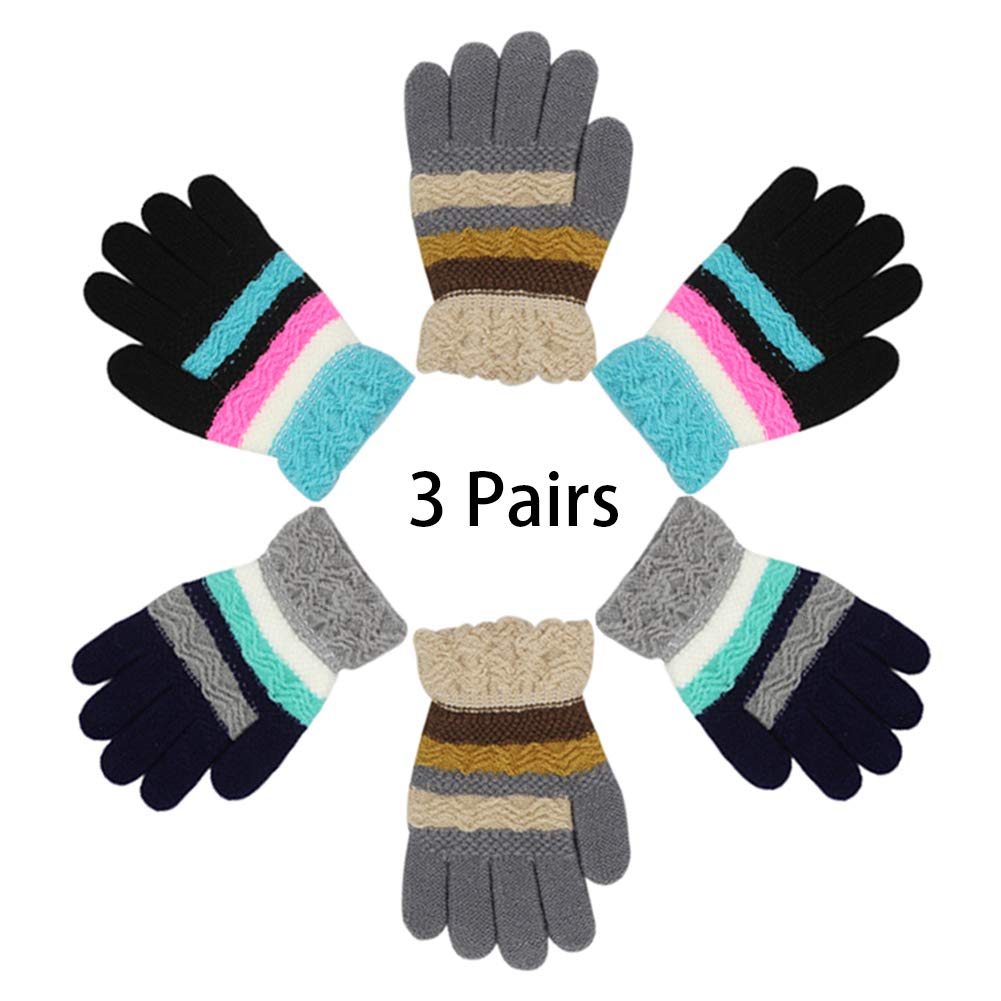 RARITY-US (3 Pairs) Warm Soft Winter Knit Gloves for Kids Boys Girls Baby Glove with Stripe Mittens (1 to 6Y)