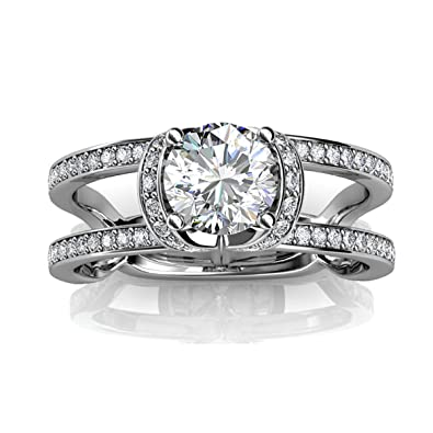9aed8434a Amazon.com: FAPPAC Split Shank Ring Band Enriched with Swarovski ...