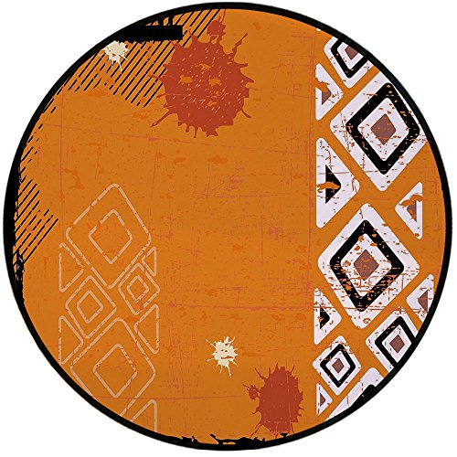 Select Line Chair Shower (Printing Round Rug,Tribal,Ethnic African Design with Bold Lines Geometric Triangles Artwork Image Mat Non-Slip Soft Entrance Mat Door Floor Rug Area Rug For Chair Living Room,Black Orange and White)