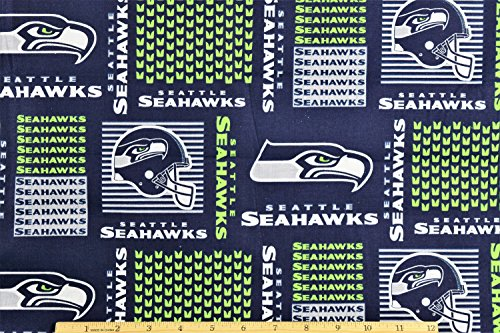 Seattle Seahawks Fabric NFL Football Fabric in Navy Blue 58
