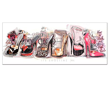 Fashion Canvas Art,Charming Women s High Heels, Wall Art Ready to Hang With Frame, Modern Canvas Print,Gallery Wrapped,Large size 16 x40 20 x48 Artwork 16 x40