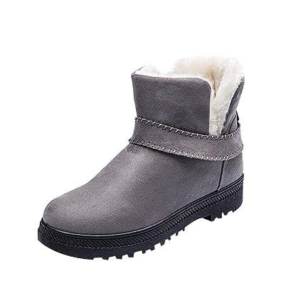 Damen Winterschuhe Schneestiefel,Sunday Frauen Stiefeletten Winter Schuhe  Plüsch Stiefel Kurz Schlupfstiefel Plattform Warm Snow 43b0da2c81