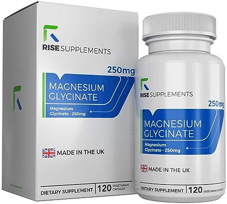 Glicinato de Magnesio - 250 mg - 120 Cápsulas Vegetarianas - Fabricado en UK en Instalaciones