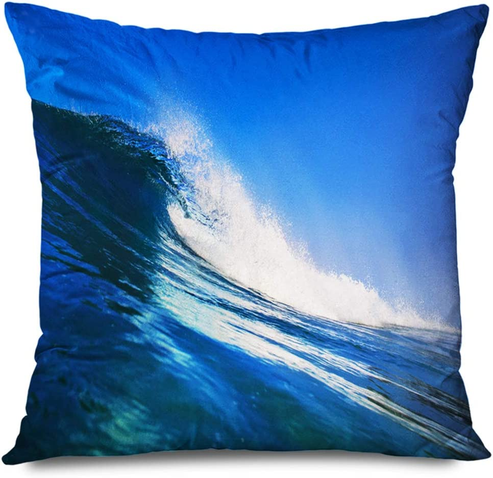 Ahawoso Decorative Throw Pillow Cover Square 18x18 Inches Fun Hawaii Ocean Surf Wave Inside View Surfing Nature Pacific Parks Outdoor Design Elegant Tsunami Pillow Cushion Case Home Decor Pillowcase