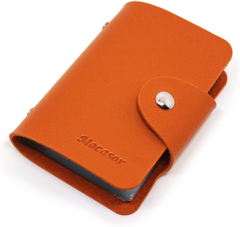 Mocasor Porte-cartes de cr/édit en cuir souple pour homme et femme avec 24 fentes en plastique durable