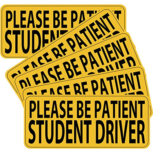Hotop 5 Pack Student Driver Magnet Safety Sign Vehicle Bumper Magnet Decal, Reflective Car Signs Sticker for New Drivers, 9 by 4 Inch