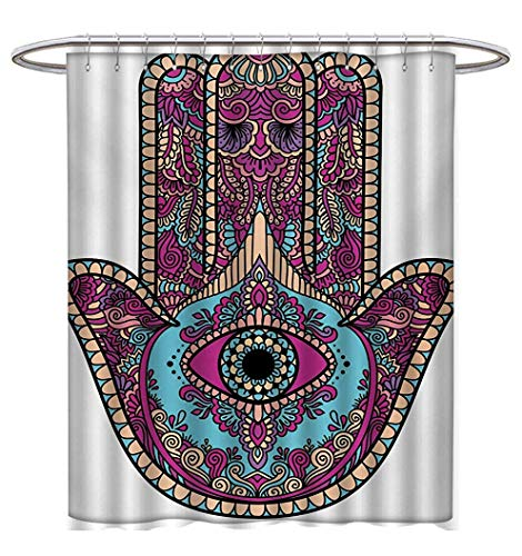 Anhuthree Hamsa Shower Curtains with Shower Hooks Doodle Zentangle Style Bohemian Old Fashioned Floral Swirls All Seeing Eye Satin Fabric Bathroom Washable W54 x L78 Magenta Aqua Peach (Hydra Floral Eye)