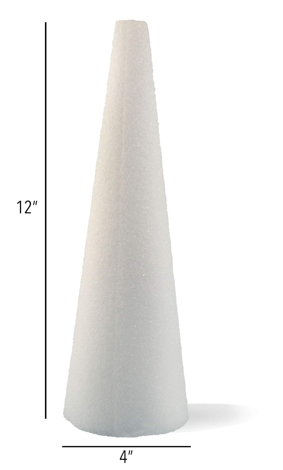 Hygloss Products Styrofoam Cones - 12 Inch White Cones for Floral Arrangements and Projects, 6 Pack