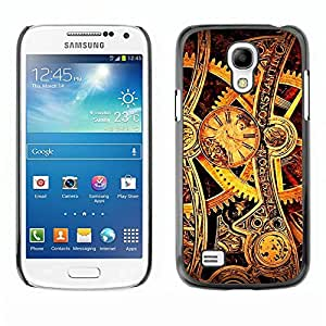 Be Good Phone Accessory // Dura Cáscara cubierta Protectora Caso Carcasa Funda de Protección para Samsung Galaxy S4 Mini i9190 MINI VERSION! // Time Mechanic Gold Wheels Gears Watch