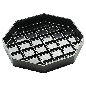 """Cal-Mil Octagonal Black Plastic Drip Tray - 4"""" L x 4"""" W"""