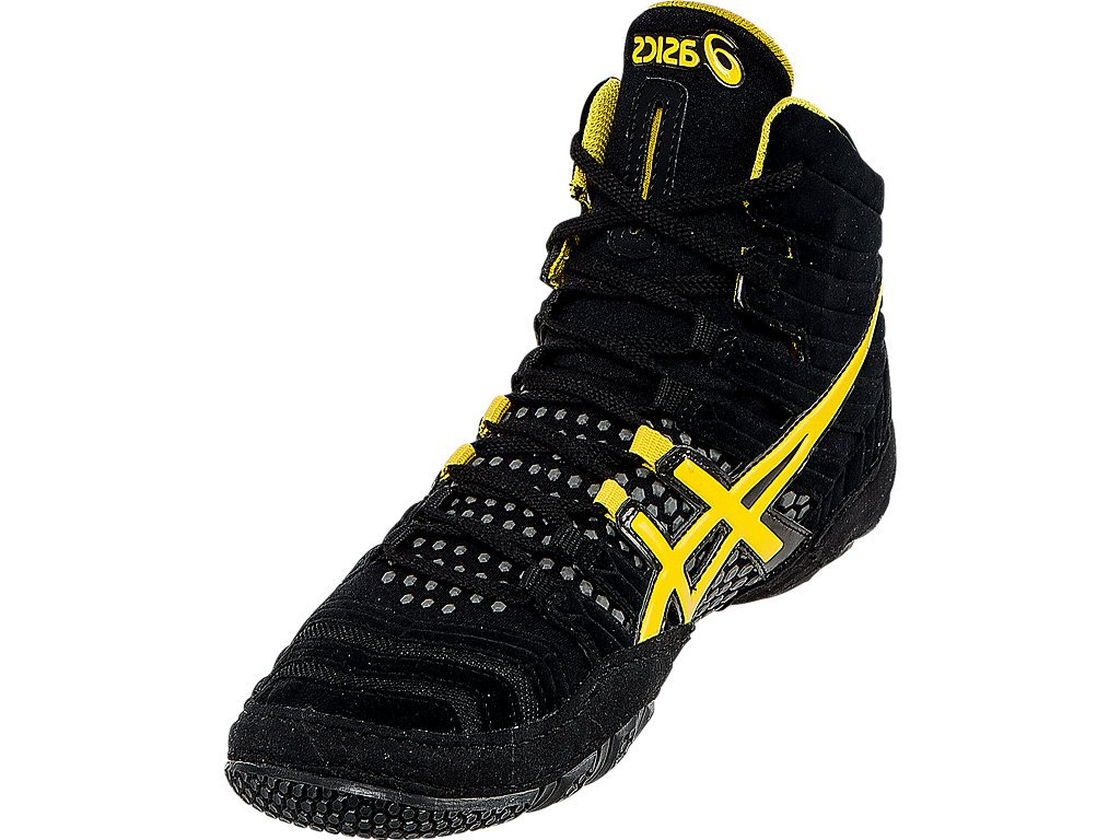 ASICS Men's Dan Gable Ultimate 4 Wrestling Shoe, Black/Yellow/Gunmetal, 10 M US