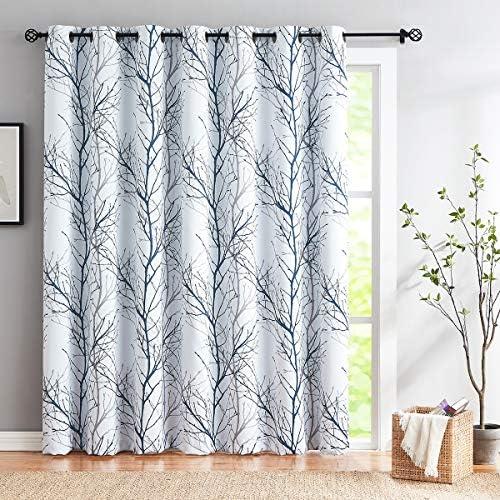 Fmfunctex Sliding Door Blackout Curtain 100×96 Blue White Tree Curtains Branch Print Extra Wide Curtain Panels