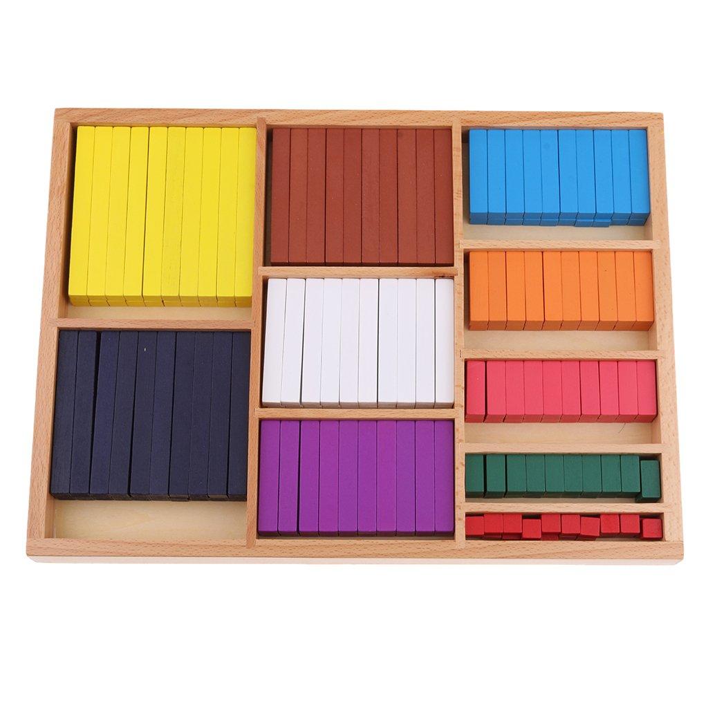 D DOLITY Materiale Matematico Montessori, Conteggio Bastoni per i Bambini, Educativo Matematica, Numero di colore 1-10cm Giocattoli