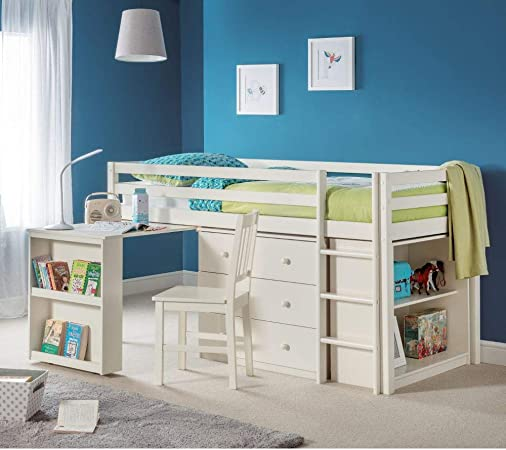 Cama de almacenamiento para niños de tamaño mediano, camas felices con piedra de Roxy, color blanco contemporáneo, cajones de escritorio, estante de almacenamiento, cama de cabina, gris, blanco, 3FT - Orthopaedic Mattress: