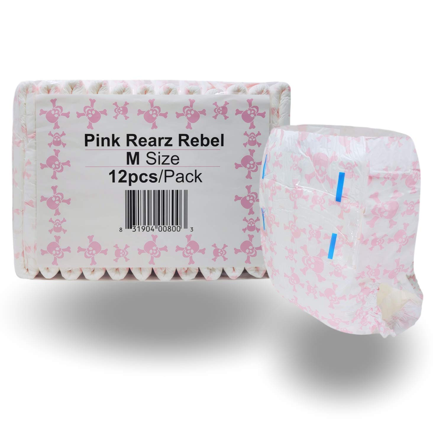 Rearz - Limited Edition - Pink Rebel - Adult Diaper (12 Pack) (Large) by Rearz