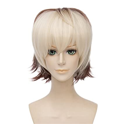 LanTing Cosplay Peluca Kiznaiver Brown Mix Short Styled Woman Cosplay Party Fashion Anime Human Costume Full