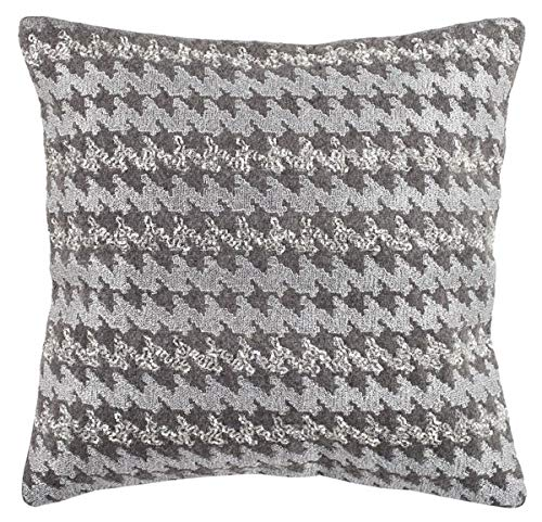 "Safavieh"" Collection Perry Hounds Tooth 21"" Square Throw Pillow, 22"" x 22"", Gray"