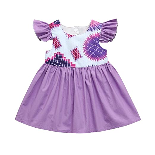 4926af6d55 Infant Newborn Baby Girls Purple Ruffle Dress Floral Plaid Button Casual  Clothes 0-24 Months