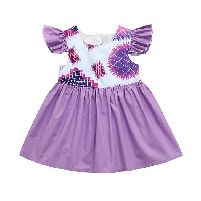 Amazon.com: Infant bebé recién nacido niñas morado vestido ...