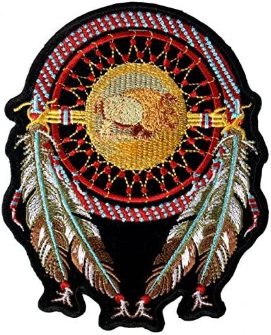 Buffalo Skull Feathers Embroidered Iron Sew On Patch Embroidery Applique Badge