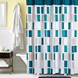 Ufaitheart Modern Checkered Bathroom Shower Curtain Set, Shower Stall Shower Curtain 36 x 72 Inches Fabric Curtains, Multi Color-Turquoise, White, Gray, Beige