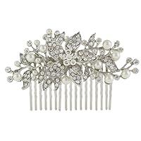 Ever Faith Silver-Tone Crystal Simulated Pearl Orchild Flower Bridal Hair Comb