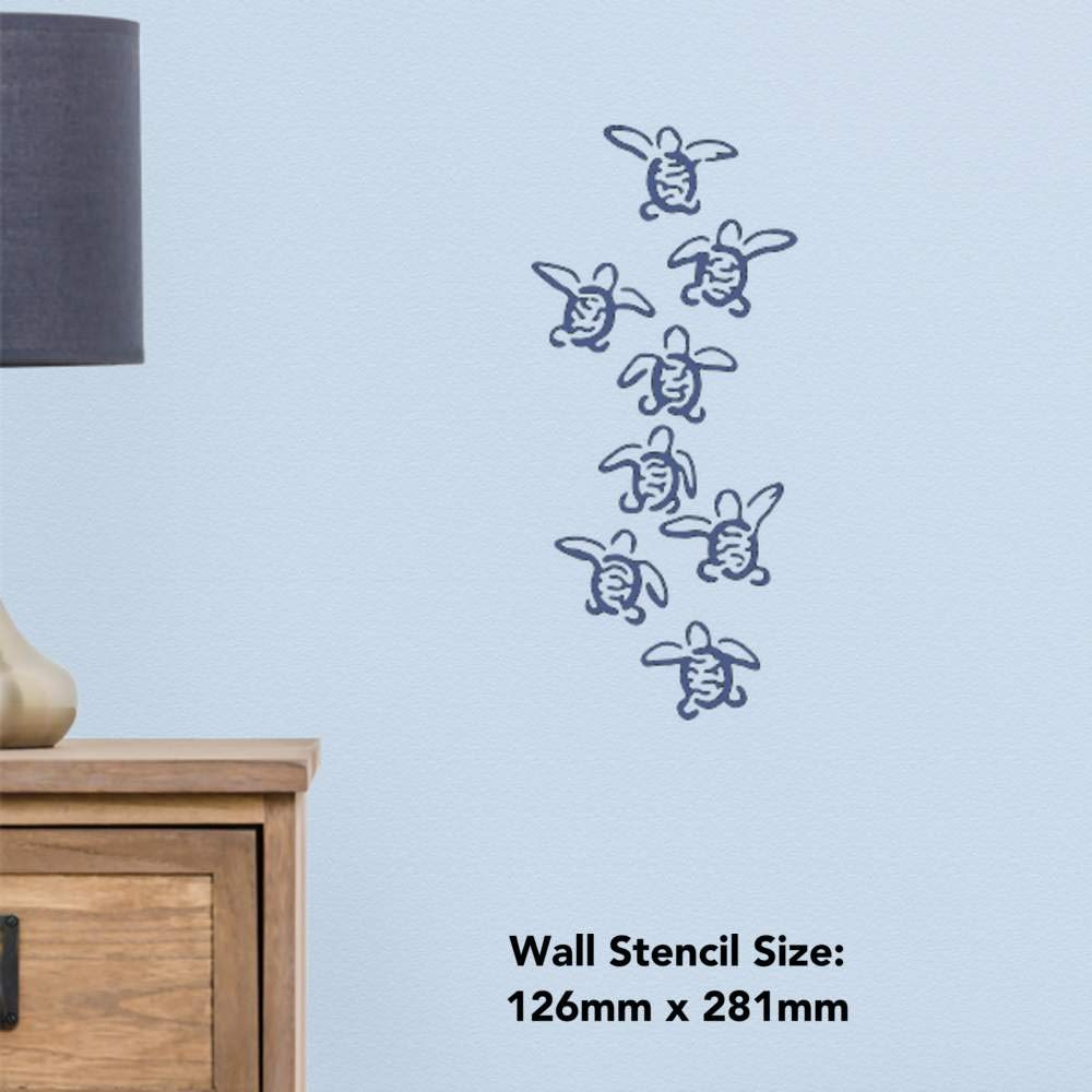 WS00036435 A4 Baby Sea Turtles Wall Stencil Template