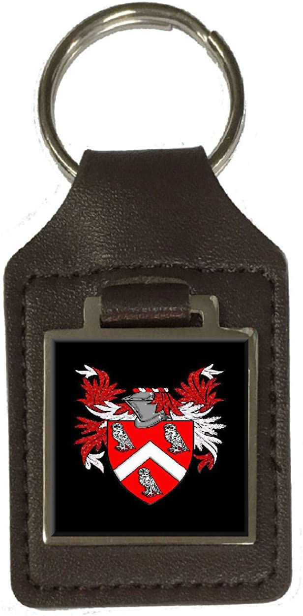 Hewitt Family Crest Surname Coat Of Arms Brown Leather Keyring Engraved