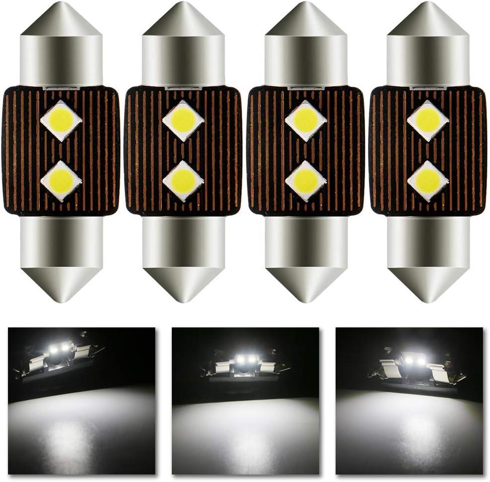 Grandview 4pcs Blanco 31MM C5W Canbus Bombillas LED con 2-3030-SMD 6411 6413 6418 C5W Bombillas LED Para el Interior del Automóvil Mapa de la Cúpula Luces de la Placa de Matrícula de Cortesía