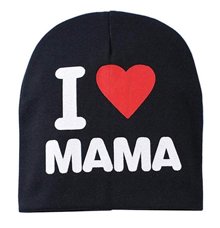 Tmrow 1PC Baby Toddler Cotton Cap I Love Mama/Papa Printed Soft Beanie Hat,Gray,I Love Mama