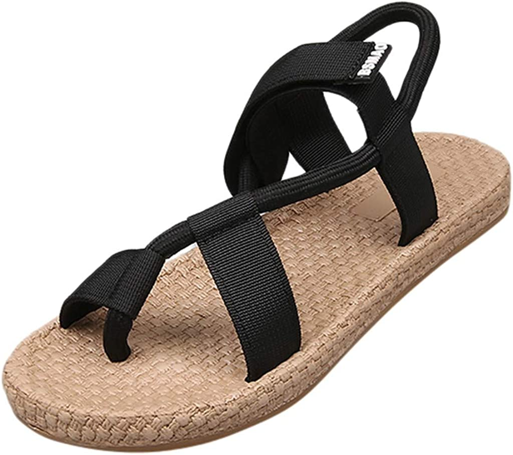 Seaintheson Womens Sandals Women/Summer Shoes Ladies Fashion Flat Heel Shoes Casual/Round Toe Slip on Platform Slipper