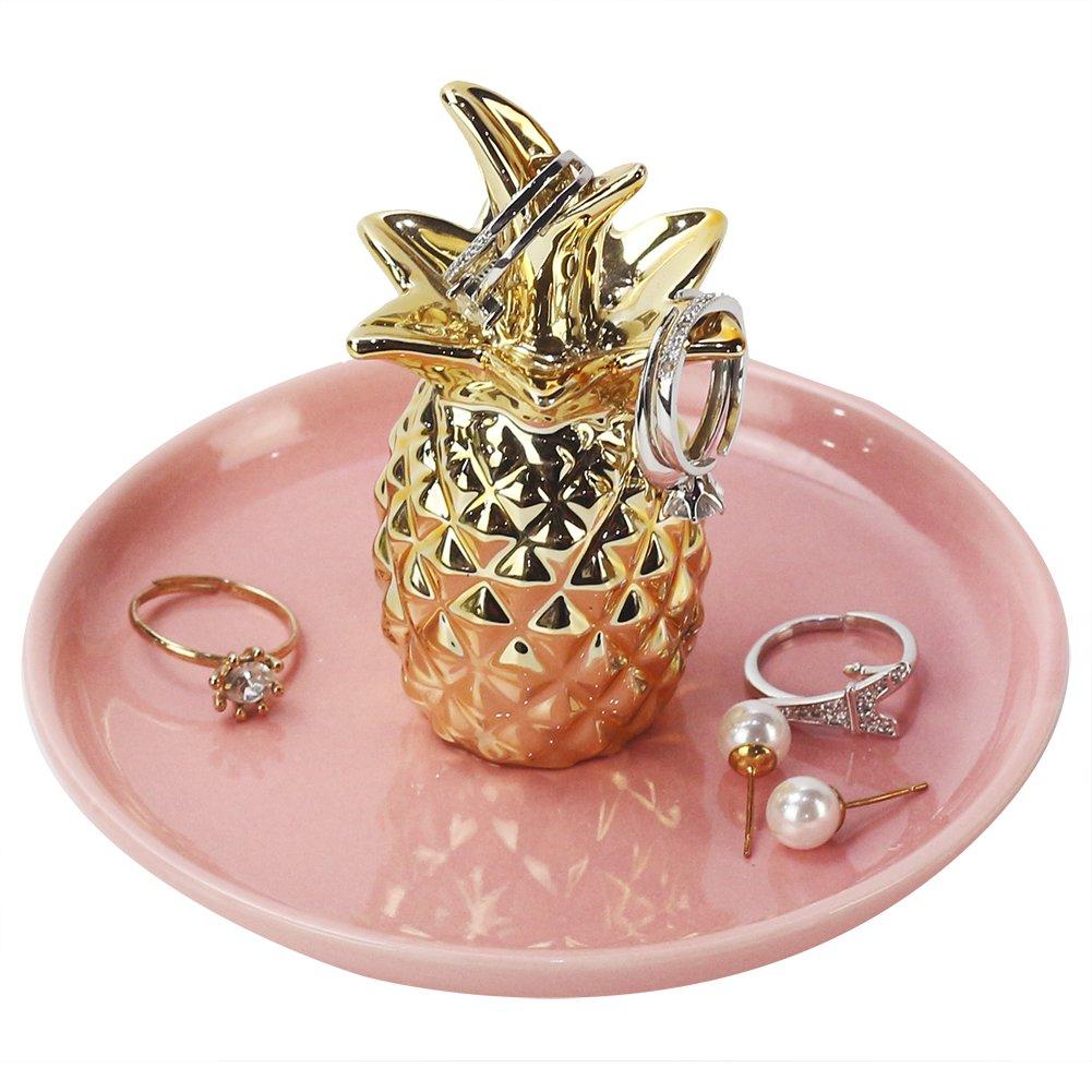 Amazon.com: WANYA Ananas Ceramic Ring Jewelry Holder Decor Dish ...