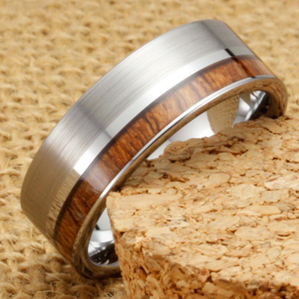 Men Women Tungsten Silver Couple Ring Vintage Wedding Engagement White Band with 100% Koa Wood Flat Top by Fashion Month (Image #4)