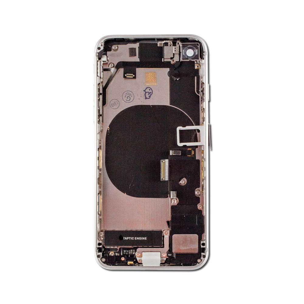 Group Vertical Replacement Full Back Assembly w/ Glass Midframe Charging Coil Power, Volume Flex Cable, and Side Buttons Compatible with Apple iPhone 8 Plus (A1864, A1897, A1898) (5.5'') (Silver) by Group Vertical