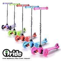 iRide Monopattino a 3 ruote per bambini Regolabile Scooter Freestyle Pieghevole Fino a 40 kg, LED ruote, alla luce rana, sacchetto (ROSA)