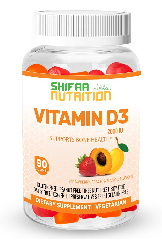 SHIFAA NUTRITION Halal & Vegetarian Vitamin D3 Gummies | Healthy Bones, Muscle, Immune | Helps against Osteoporosis | 2000 IU | Max Absorption | Gelatin, Gluten, Dairy & Nut Free | Halal Vitamins | 90