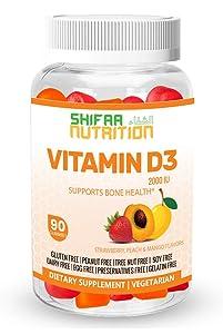 SHIFAA NUTRITION Halal & Vegetarian Vitamin D3 Gummies   Healthy Bones, Muscle, Immune   Helps against Osteoporosis   2000 IU   Max Absorption   Gelatin, Gluten, Dairy & Nut Free   Halal Vitamins   90