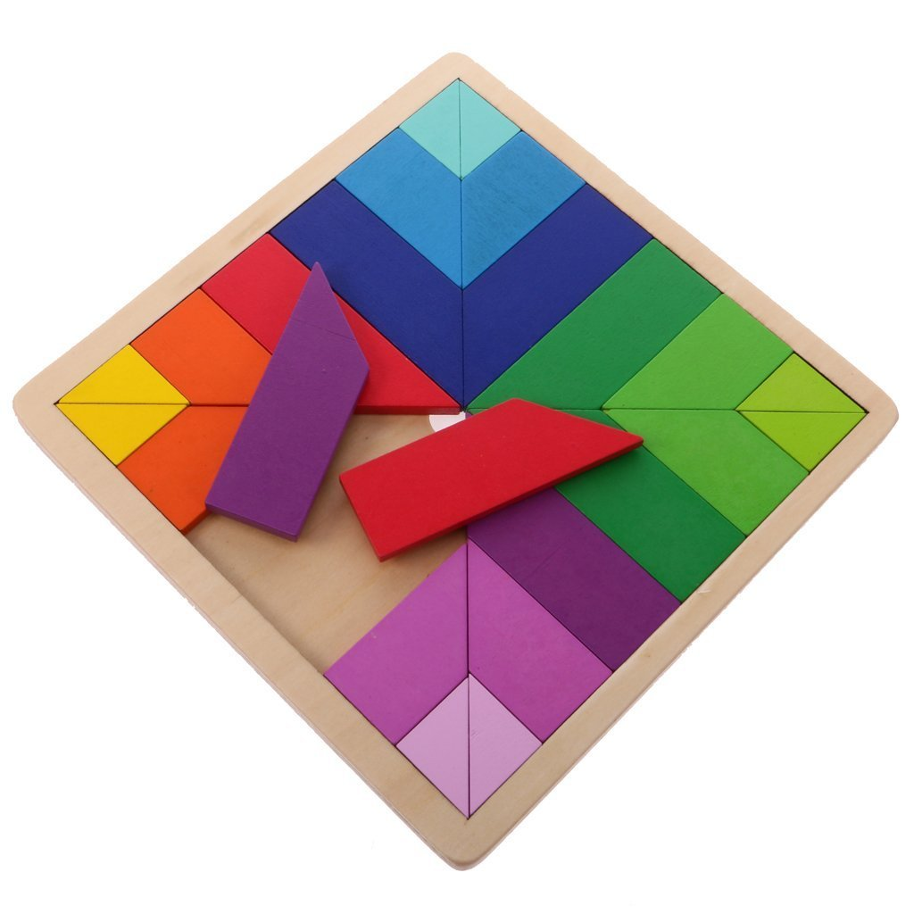 KAMSOL Multi-color Wooden Building Blocks Board Tan-gram Jigsaw Puzzle Tetris for Children Babies Early Educational Learning Wooden Toys Square Shape