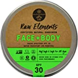 Raw Elements Face and Body Certified Natural Sunscreen | Non-Nano Zinc Oxide, 95% Organic, Water Resistant, Reef Safe…