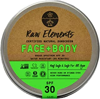 product image for Raw Elements Face and Body Certified Natural Sunscreen | Non-Nano Zinc Oxide, 95% Organic, Water Resistant, Reef Safe, Cruelty Free, SPF 30+, All Ages Safe, Moisturizing, Reusable Tin, 3oz