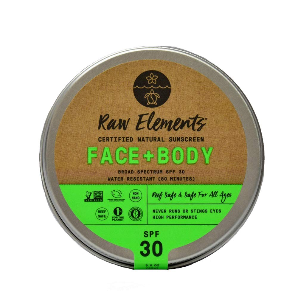 Raw Elements Face and Body Certified Natural Sunscreen | Non-Nano Zinc Oxide, 95% Organic, Water Resistant, Reef Safe, Cruelty Free, SPF 30+, All Ages Safe, Moisturizing, Reusable Tin, 3oz