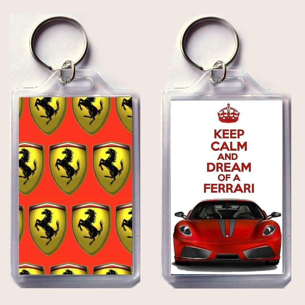 Schlüsselanhänger Aufschrift Keep Calm And Dream Of A Ferrari Bild Roter Ferrari F430 Auf Einer Seite Ferrari Logo Auf Der Anderen Seite Aus Der Keep Calm And Carry On Serie Für Vatertag Geburtstag Amazon De