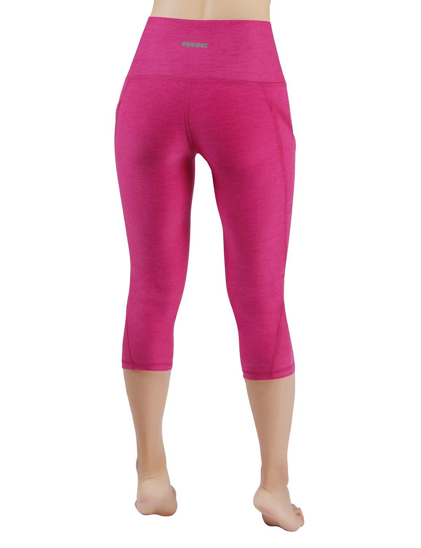 ODODOS High Waist Out Pocket Yoga Capris Pants Tummy Control Workout Running 4 Way Stretch Yoga Leggings,Fuchsia,X-Small by ODODOS (Image #3)