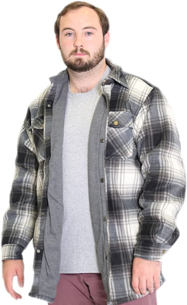Woodland Supply Co Mens Thermal Lined Plaid Outerwear Shirt Jacket