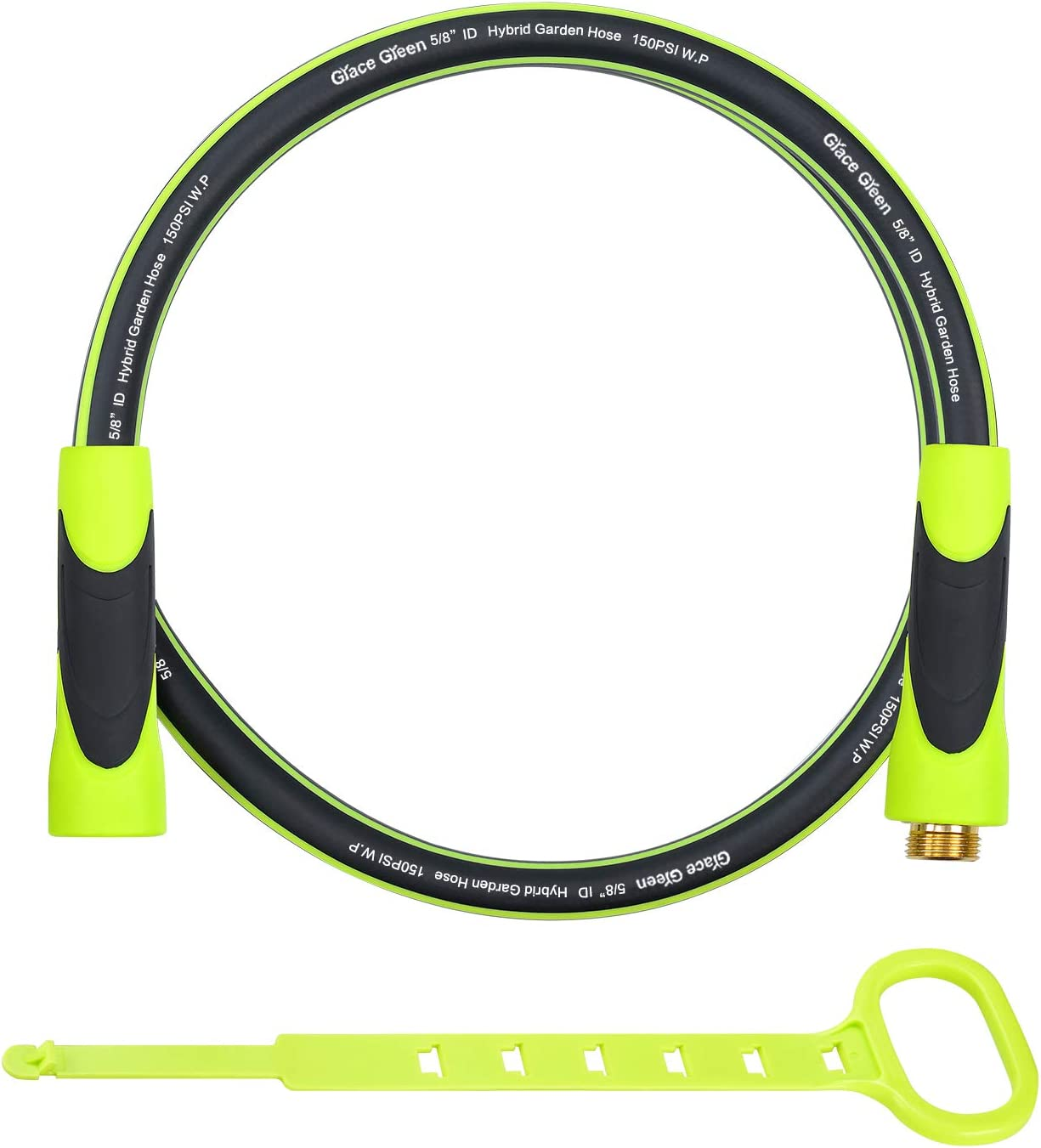 Grace Green Lead in Hose,Hybrid 5/8 in.×5FT Short Garden Hose, Extension Hose, Both End SwivelGrip, Heavy Duty, Light Weight, Flexible