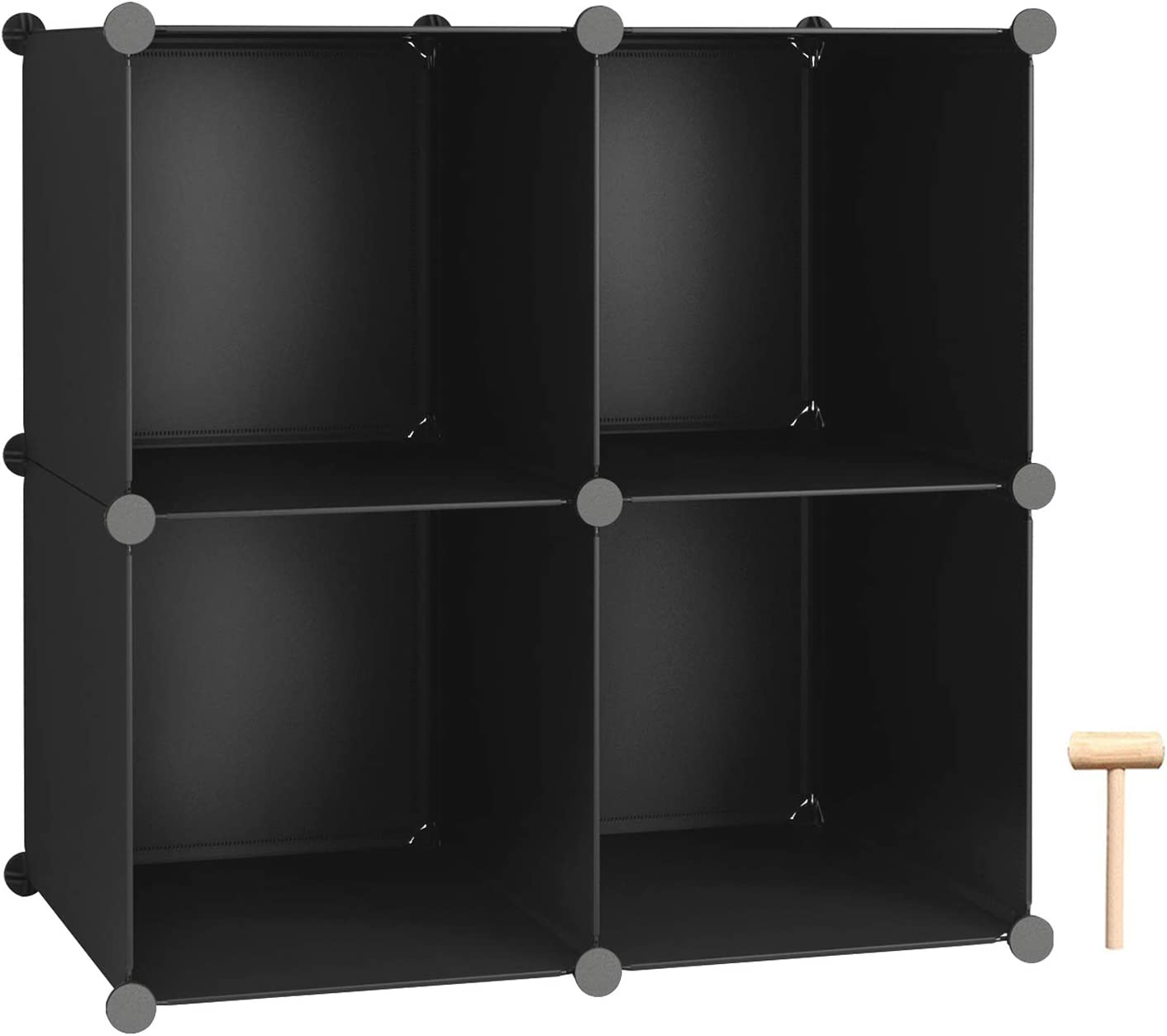 "C&AHOME Cube Storage, 4-Cube Organizer Units, Plastic Closet Storage Shelves, DIY Book Shelf, Modular Bookcase, Cabinet Ideal for Bedroom, Living Room, Home Office, 24.8"" L x 12.4"" W x 24.8"" H Black"
